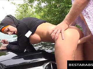 Busty Arab Whore In Hijab Fucked By Taxi Driver 720p