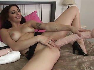 Leggy Brunette Karina Kay Thrusts Huge Dildo In Her Pussy